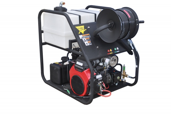 RCJ frame sewer jetter in a small service van