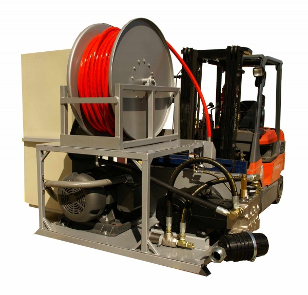 Large electric sewer jetter for hospital sewer line cleaning