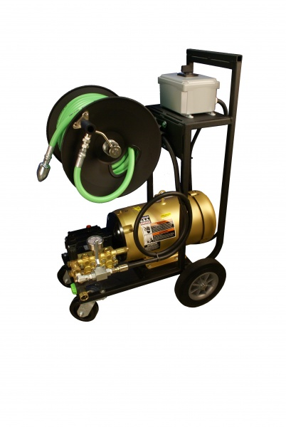 Narrow electric jetter developed for inside a pork production facility for drain maintenance