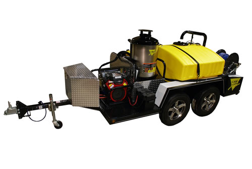 Trailer mount gas powered hot water pressure washer, diesel-heated