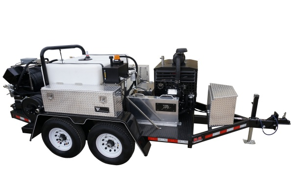 Deluxe Trailer Mounted Diesel Powered 25 gpm, 4000 psi Cold Water Sewer and Drain Jetter