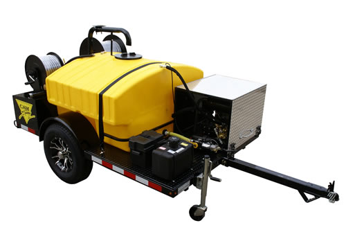 Deluxe Trailer Mounted Gas Powered 20 gpm, 2000 psi Cold Water Sewer and  Drain Jetter